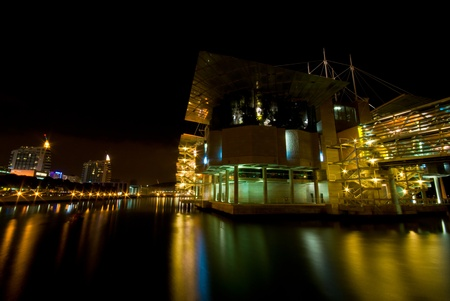 oceanario: modern aquarium at the expo park in Lisbon at night