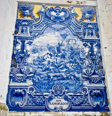 beautiful old tiles at the Avenida da Liberdade in Lisbon Editorial