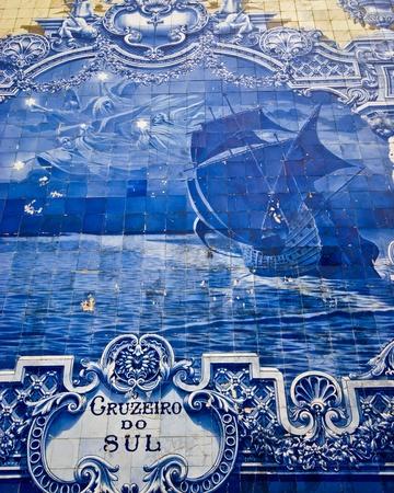 beautiful old tiles at the Avenida da Liberdade in Lisbon