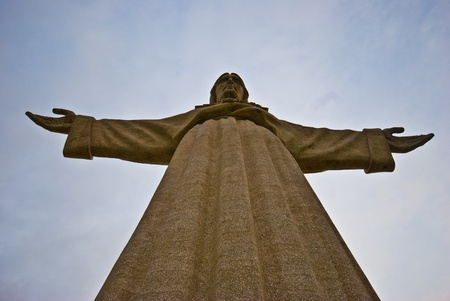 detail of the enormous statue of Christ in Lisbon photo