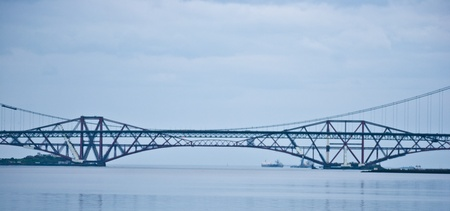 back and forth: the bridges over the Firth of Forth in Scotland Stock Photo