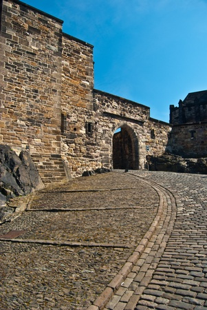 part of the famous Edinburgh castle on a sunny day