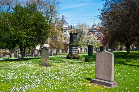 churchyard: part of the old Greyfriars Kirkyard in Edinburgh Stock Photo