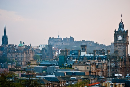 aerial view of the old city of Edinburgh photo