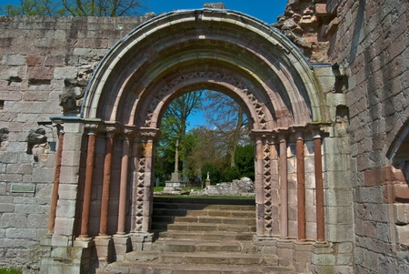 abbey ruins abbey: part of the ruins of Dryburgh Abbey in scotland