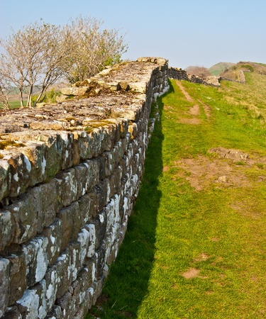 a part of the ancient Hadrians wall in northern England