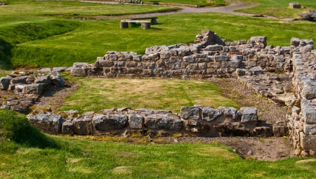 part of the ruins of the Housesteads Roman Fort at the Hadrian