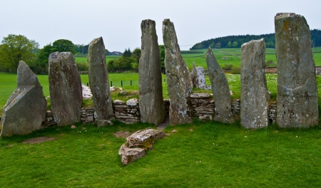 chambered: ancient chambered tomb called Cairnholy Stones in Scotland
