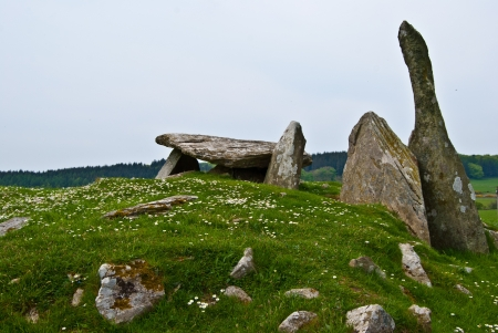 dumfries and galloway: ancient chambered tomb called Cairnholy Stones in Scotland
