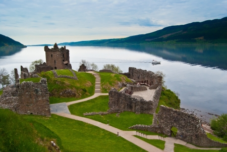 highlands: famous Urquhart Castle at Loch Ness in Scotland
