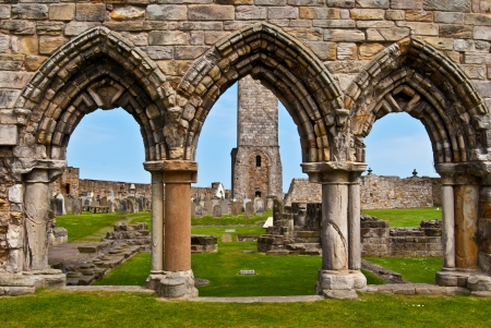 andrews: Ruin of St Andrews Cathedral in St Andrews, Scotland Stock Photo