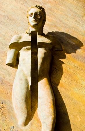 Angeli: sculture at the door of Santa Maria degli Angeli in Rome Stock Photo
