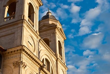 monti: detail of the church SS Trinita dei Monti in Rome Stock Photo