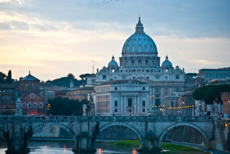 basilica of Saint Peter in the evening light photo