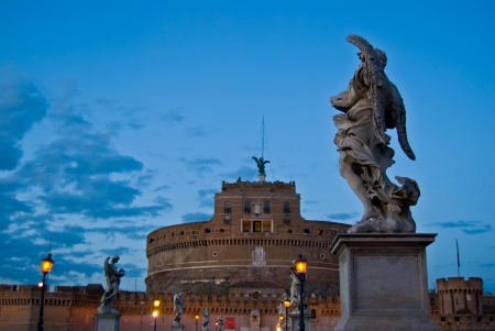 Castel and Ponte Sant Angelo in Rome in the evening Stock Photo - 14985880