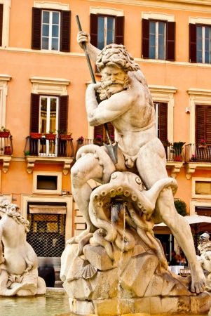 detail of the fountains on the roman Piazza Navona photo