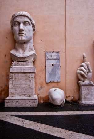 constantin: part of the enormous statue of the roman emperor Constantin Editorial
