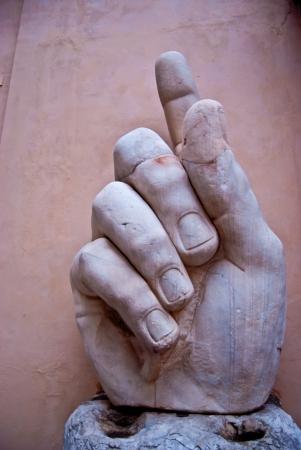 constantin: part of the enormous statue of the roman emperor Constantin Stock Photo