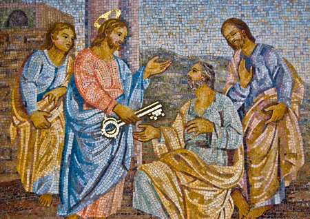 mosaic of Saint Peter receiving the key from Jesus Editorial