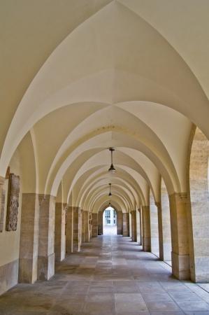 colonade: view along a long old colonade in Vienna Editorial