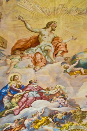detail of the biblical fresco of the Karlskirche in Vienna Editorial