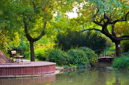 Japanese garden on the Margaret island in Budapest Stock Photo