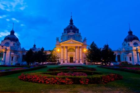 szechenyi: exterior of the famous bath Szechenyi Fuerdo in Budapest