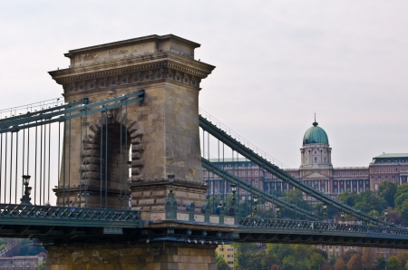 view of Chain bridge and Castle of Budapest Stock Photo - 18535729