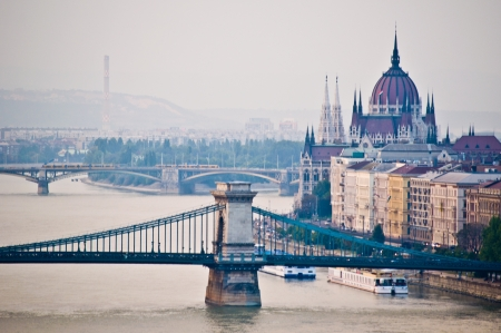 budapest: view of the cityscape of Budapest with the danube
