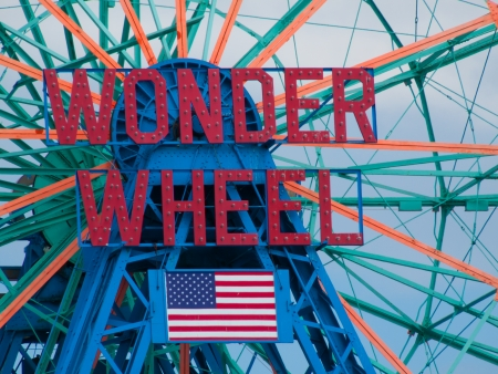 coney: detail of the famous Wonder Wheel at Coney Island