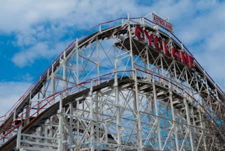 coney: view of the famous Cyclone at Coney Island, NYC Editorial