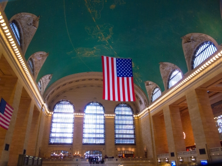 detail of the interior of the Grand Central Terminal in NYC