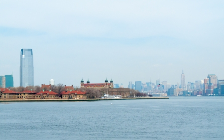 view of New York City from Liberty Island photo