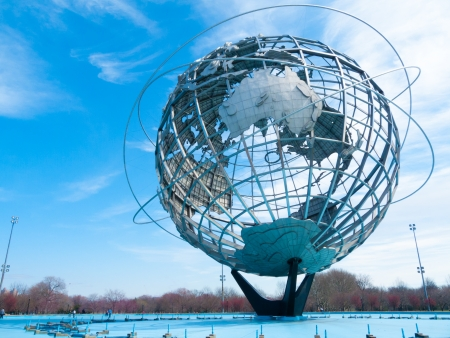 huge globe standing in Flushing Meadows in Queens, NYC