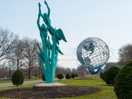 flushing: huge globe standing in Flushing Meadows in Queens, NYC