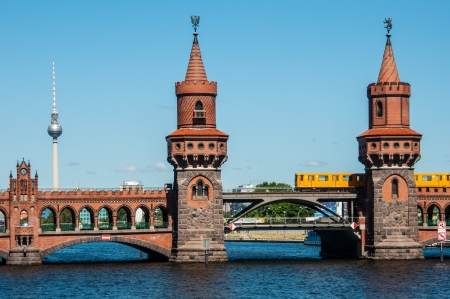 view of the Oberbaum bridge in Berlin