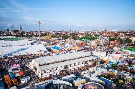 wiesn: view of the Oktoberfest from the ferris wheel Editorial