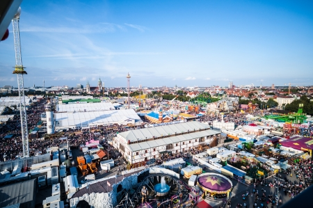 wiesn: view of the Oktoberfest from the ferris wheel Editorial