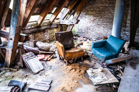 sitting area: dirty sitting area in an abandoned house