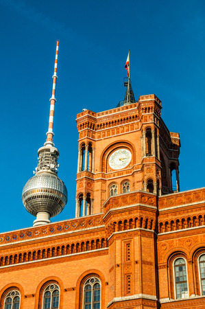 townhall: view of the Red townhall and TV tower in Berlin Editorial