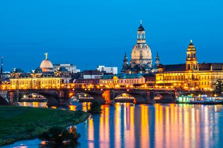 saxony: illuminated skyline of Dresden, saxony in the evening