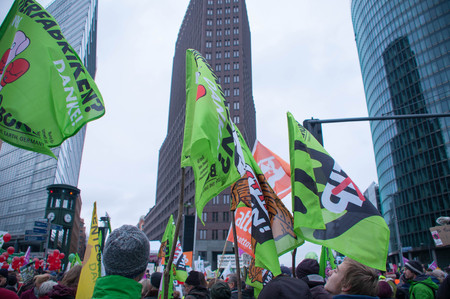 agribusiness: BERLIN, GERMANY - JANUARY 16: Demonstration Wir haben es satt! against the agricultural industry on January 16, 2016 in Berlin, Germany