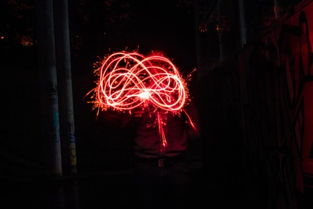Red steel wool burned 写真素材