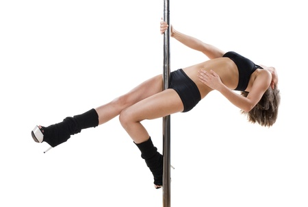 Young sexy woman exercise pole dance against a white background Stock Photo - 9904332