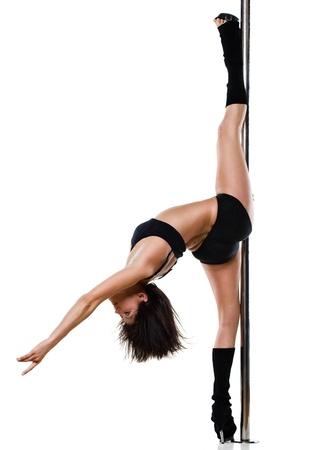 Young sexy woman exercise pole dance against a white background Stock Photo - 9986148