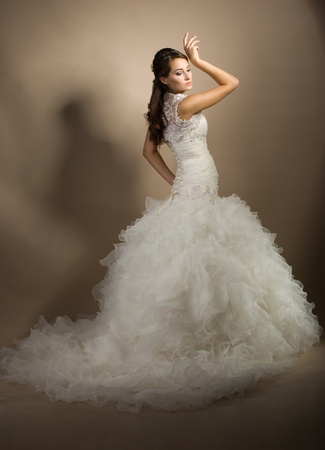 The beautiful young woman posing in a wedding dress Stock Photo