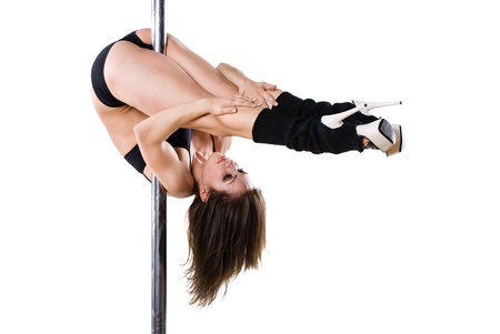 nude gymnast: Young sexy woman exercise pole dance against a white background  Stock Photo