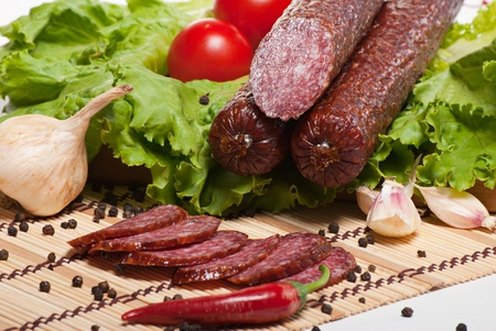 Salami with lettuce and tomatoes photo
