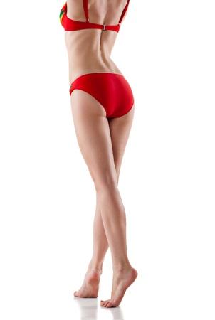 hot girl legs: Rear view of beautiful caucasian woman