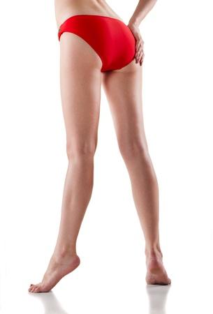 long feet: Rear view of beautiful caucasian woman